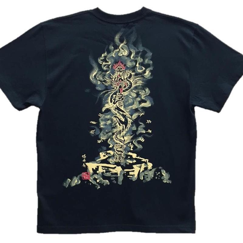 T-shirts men Kurikara Fudo black Buddhist Japanese sumi-e Art