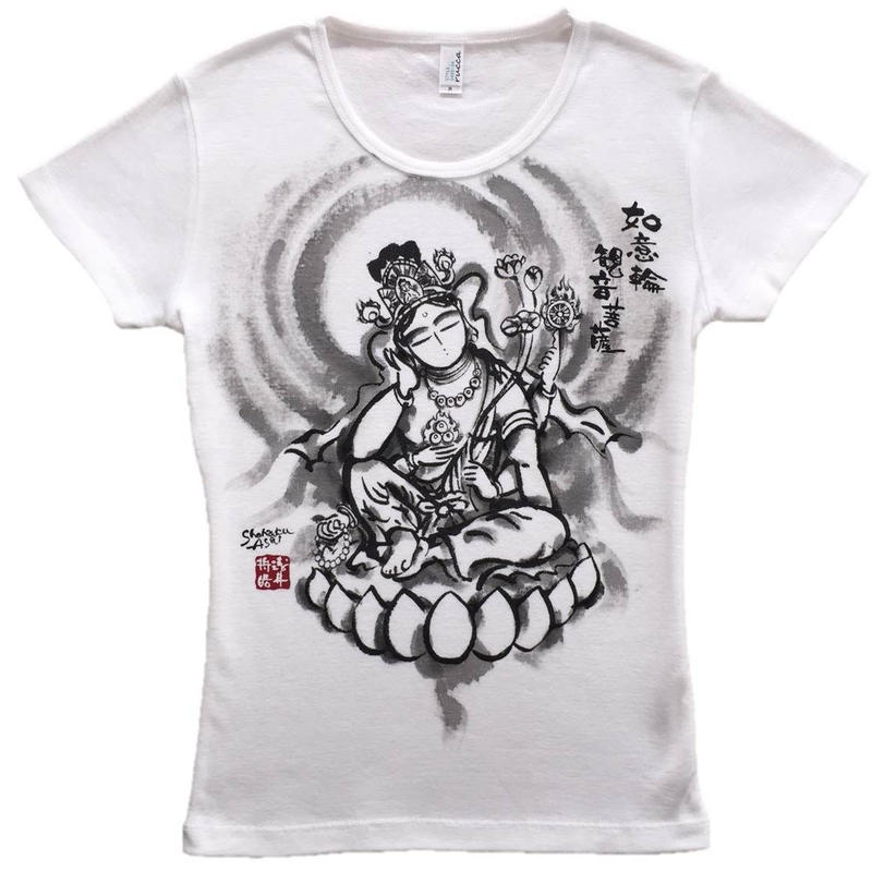 T-shirts ladies Nyoirin Kannon white Japanese Art
