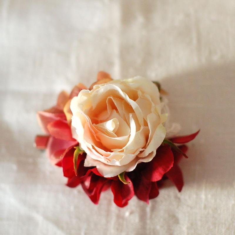 ローズのコサージュ(アート・cream-pink)