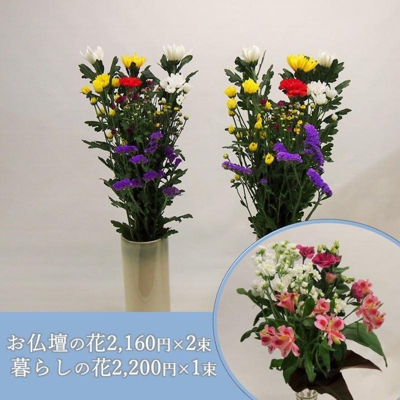 【おまかせ定期便 C+E】お仏壇の花2,160円×2束+暮らしの花2,200円×1束