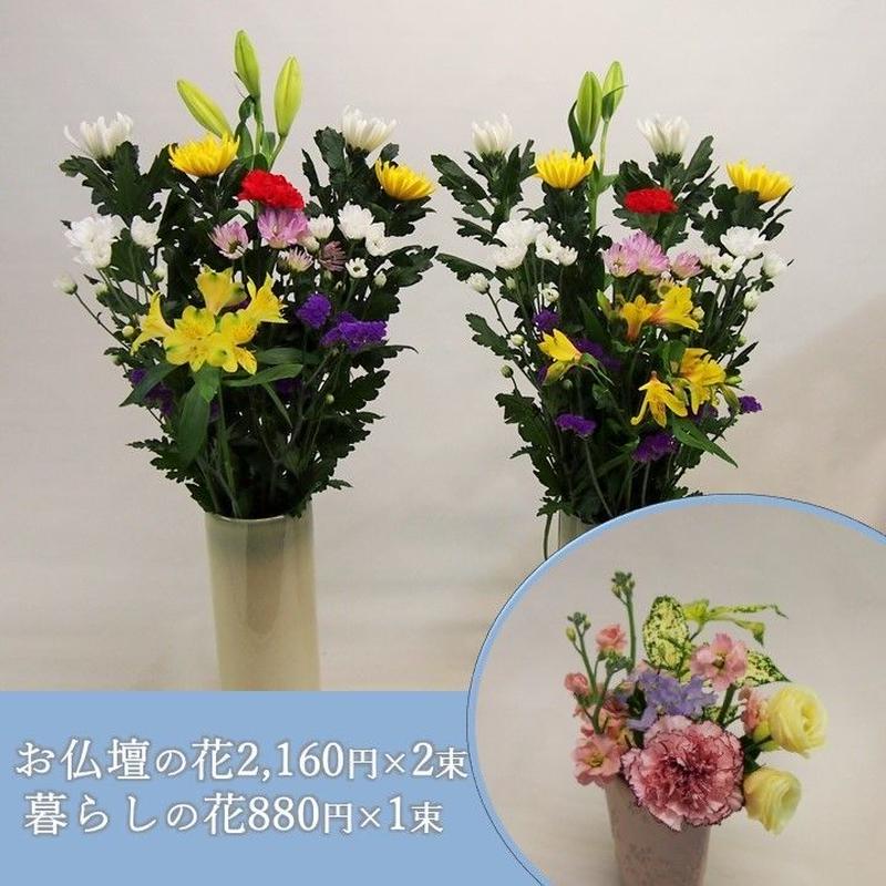 【おまかせ定期便 C+G】お仏壇の花2,160円×2束+暮らしの花mini880円×1束