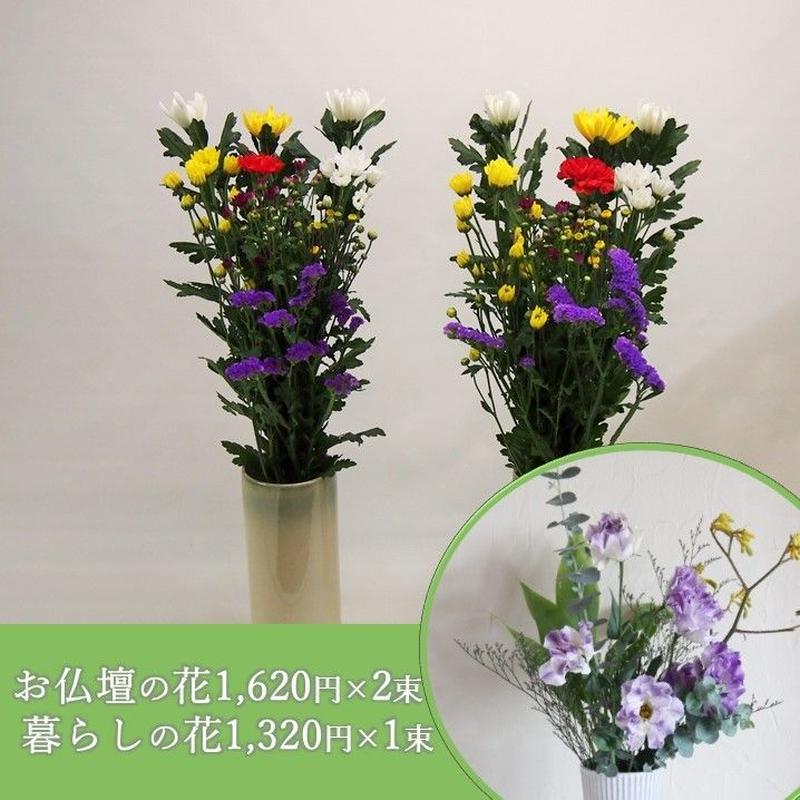 【おまかせ定期便 B+D】お仏壇の花1,620円×2束+暮らしの花1,320円×1束