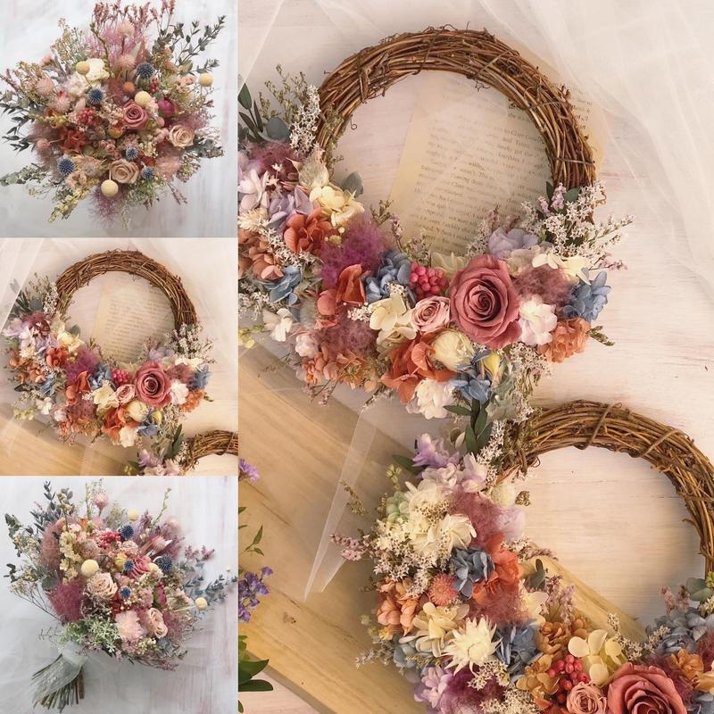 アフターブーケ  *half type wreath*