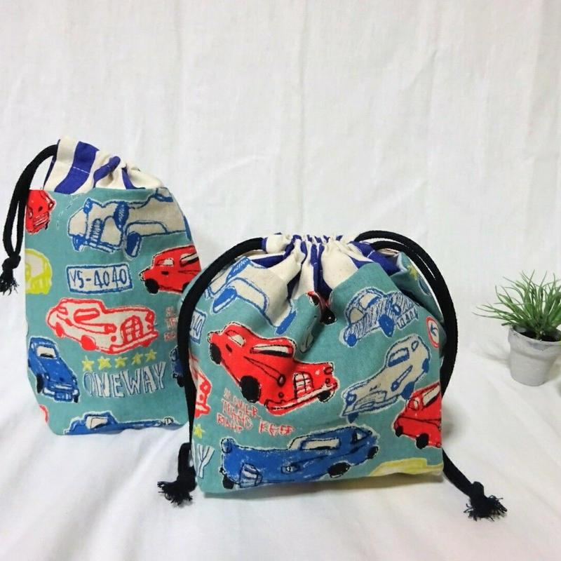 お弁当袋&コップ袋(クラッシックカー/グリーン)