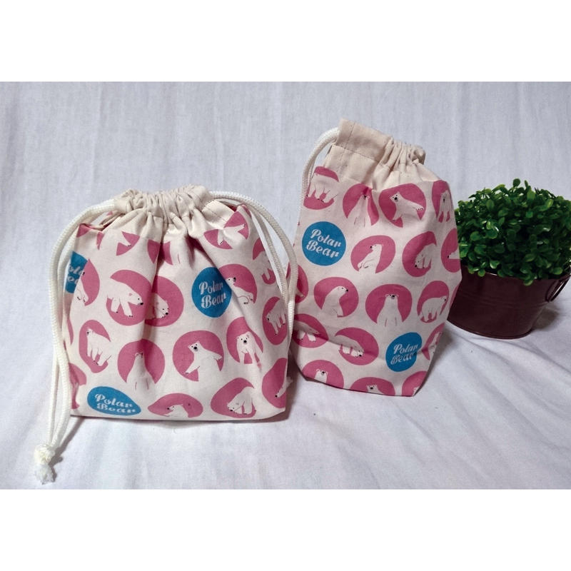 お弁当袋&コップ袋(シロクマP)