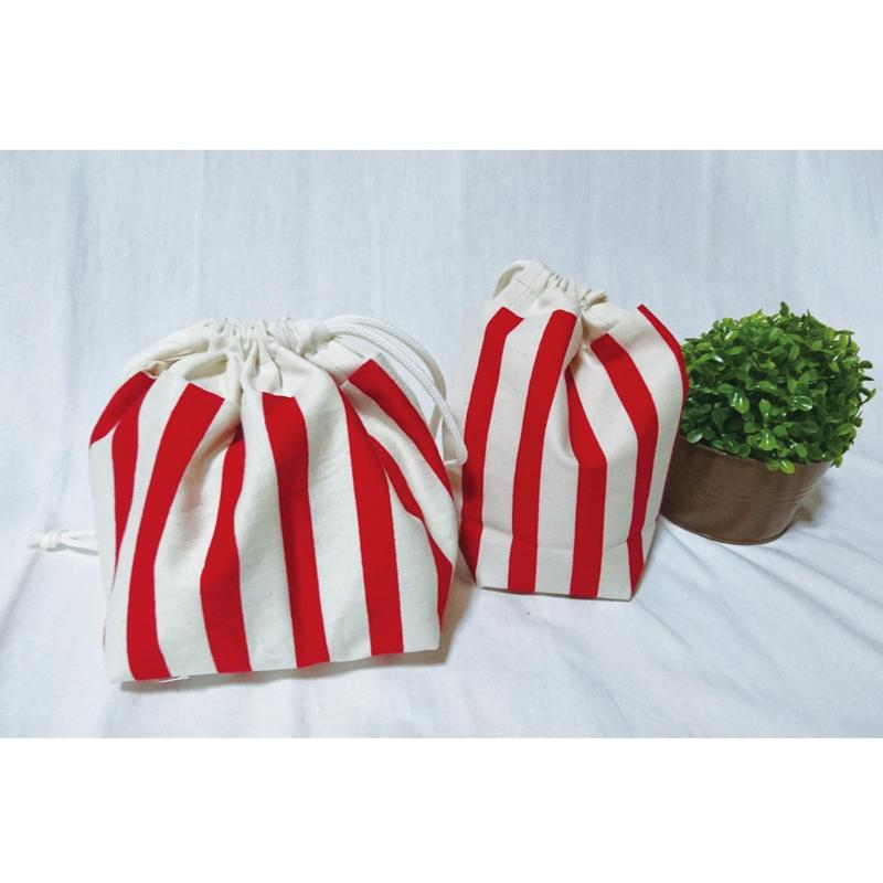 お弁当袋&コップ袋(赤ボーダー)