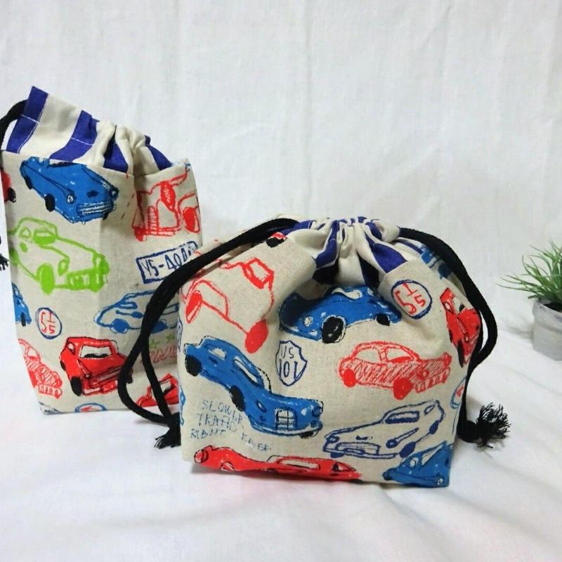 お弁当袋&コップ袋(クラッシックカー/ホワイト)