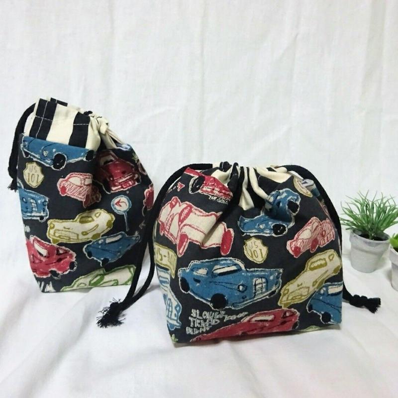 お弁当袋&コップ袋(クラッシックカー/ブラック)