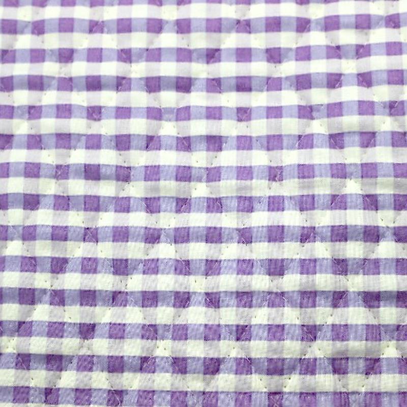 ギンガムチェックキルト 紫 【10cmあたり】