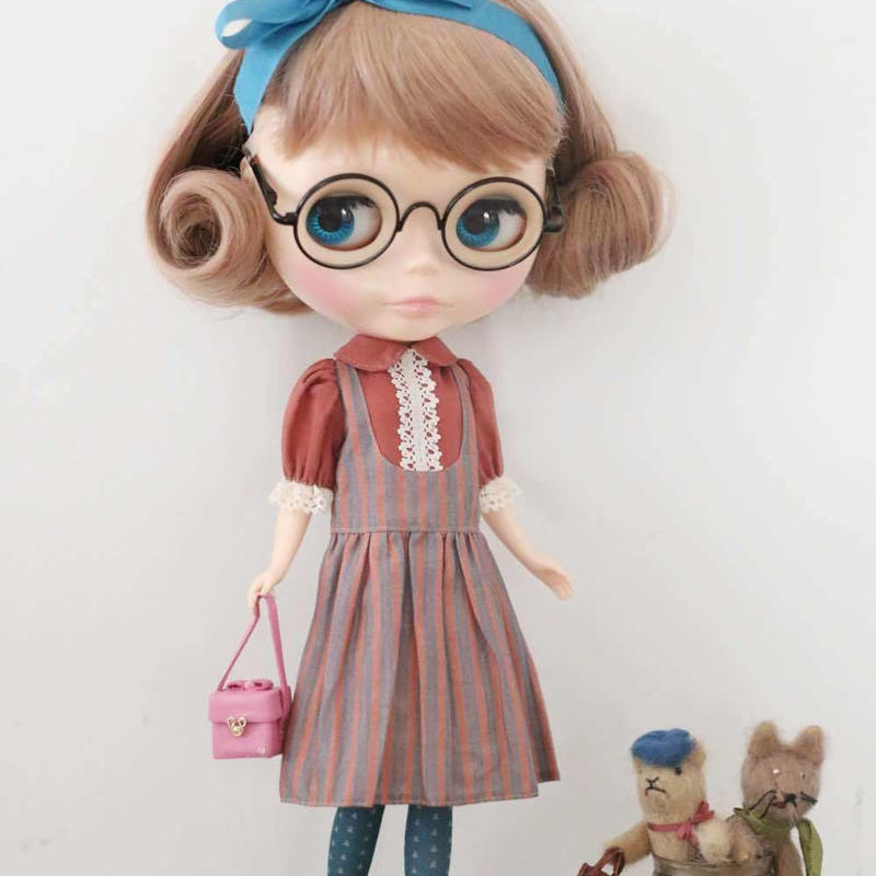 DIY ジャンパースカートふうワンピースキット(梅重色xストライプ)
