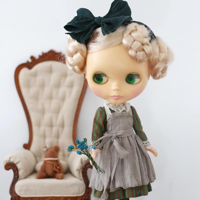 [完成品]  緑のお茶会 アリスワンピース
