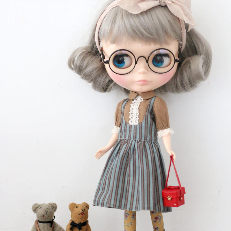 DIY ジャンパースカートふうワンピースキット(茶色xストライプ)