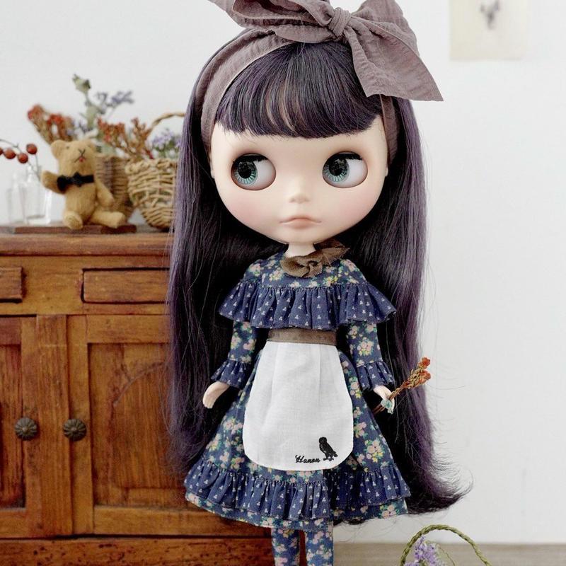 [完成品]  ハーバルドレス(ネイビー色) / Herbal dress (Navy blue color)