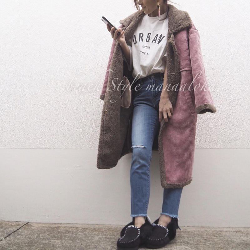 即納corduroy boa long coat
