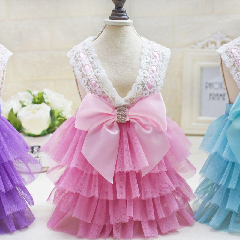 【犬のドレス】ピンクのティアードドレス