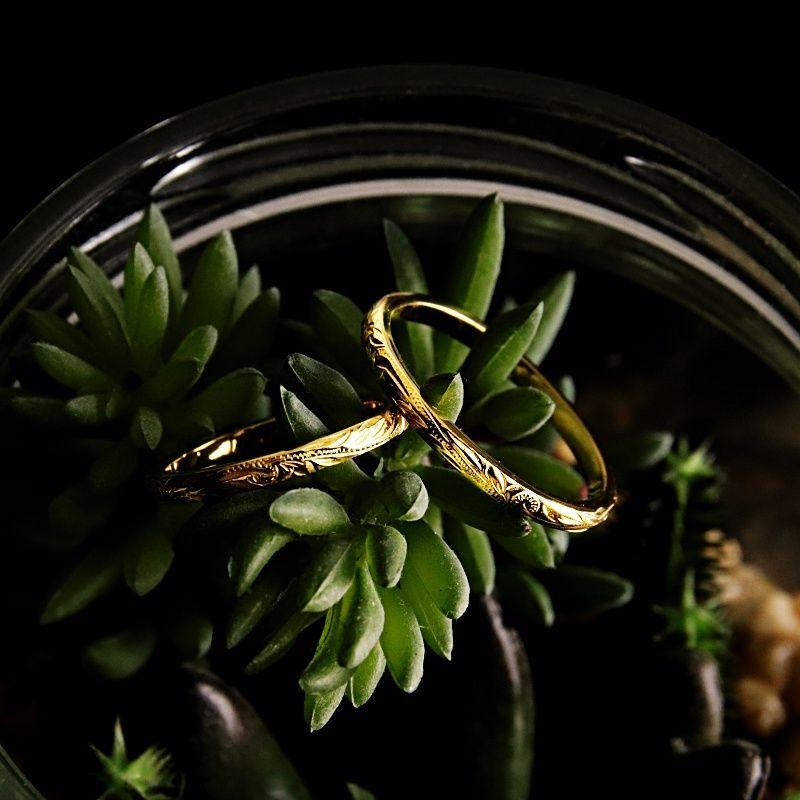 ハワイアンジュエリー リング 指輪 スリム メンズ レディース スクロール 彫刻 ゴールド