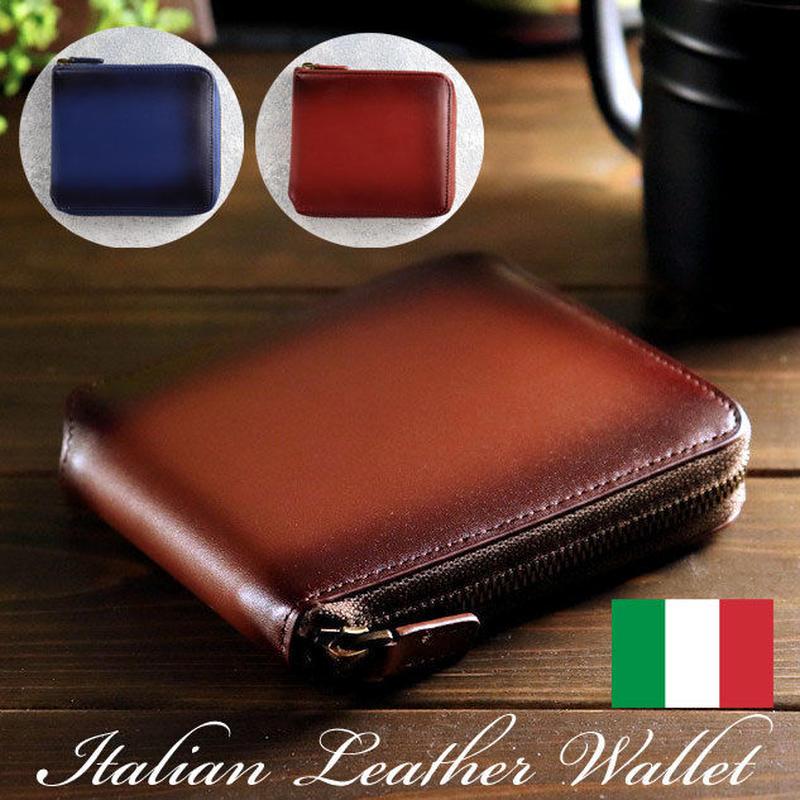 財布 ラウンドファスナー 二つ折り メンズ イタリアンレザー シャドー加工