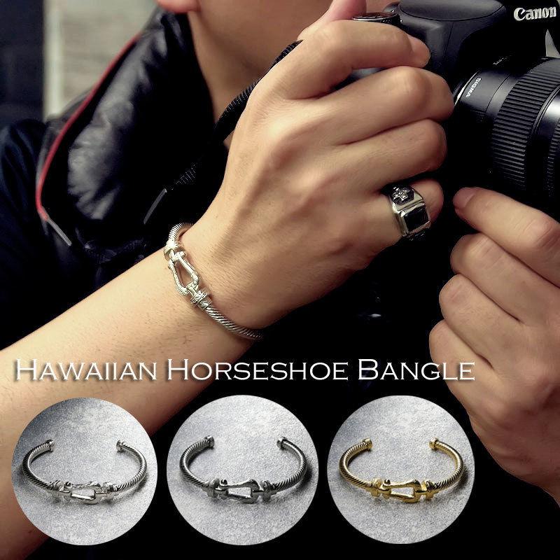 ハワイアンジュエリー バングル メンズ 馬蹄 プラチナ ゴールド ブラック ギフト コーディネート ファッション