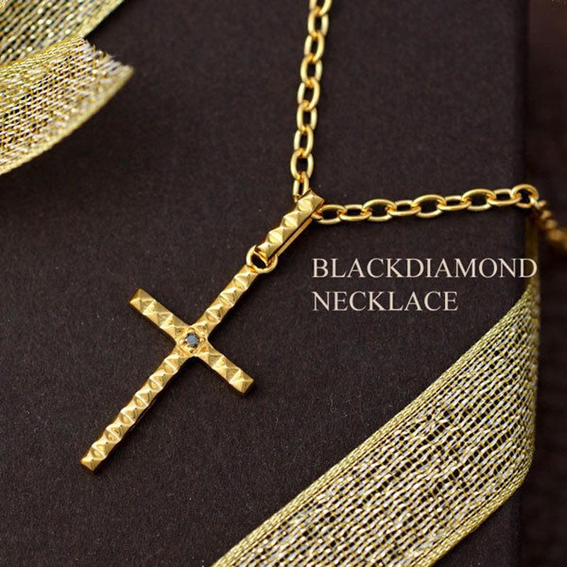 ネックレス メンズ ブラックダイヤモンド ゴールド クロス