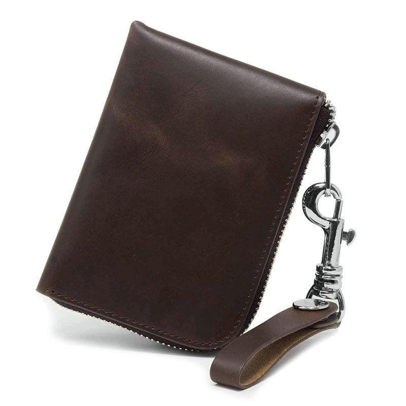 オイルレザー コンパクト 財布 ラウンドファスナー コイン カード ケース
