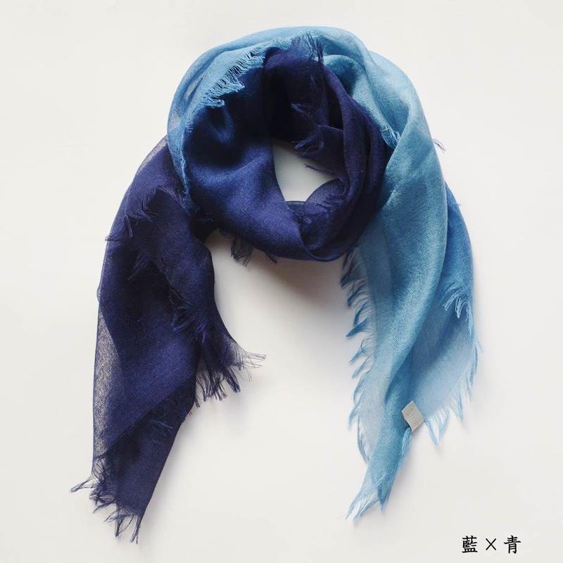 ぼかし染シルクウール・ガーゼ Mini 藍×青(あい・あお)