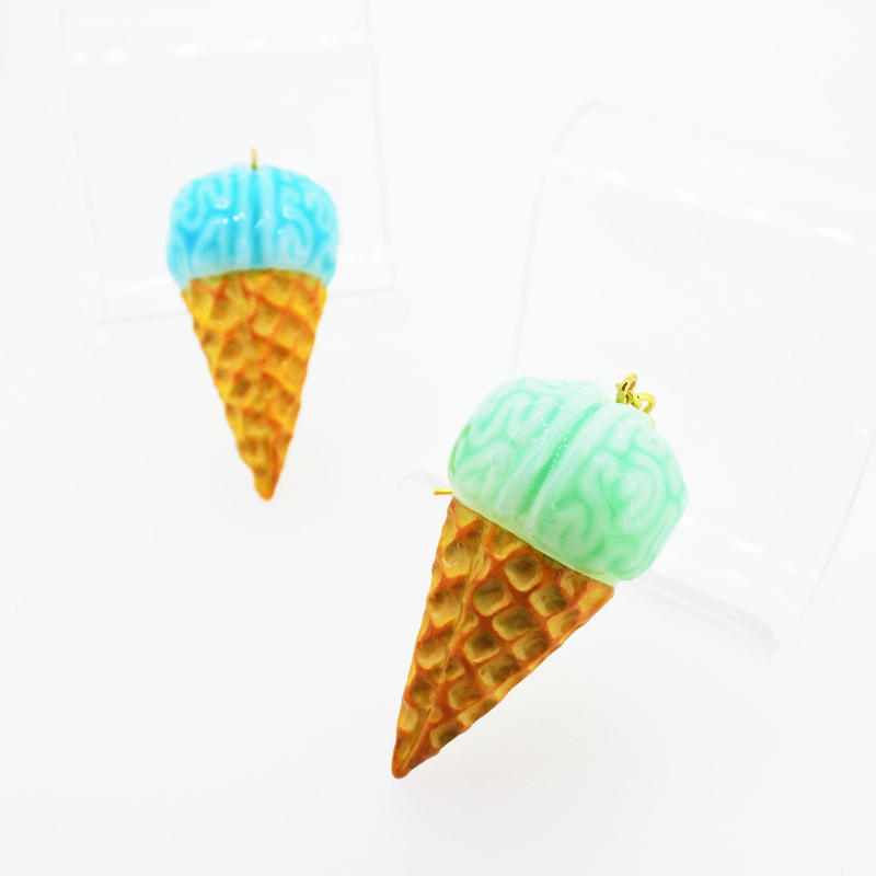脳みそアイスクリームピアス(片耳)(イヤリング交換可能)