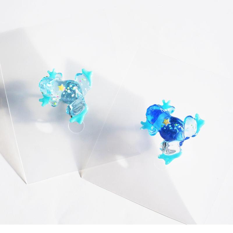 kaeruイヤリング(片耳) 透明  天の川 蓄光
