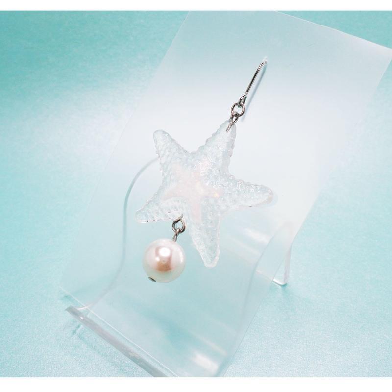 starfish ピアス透明 (イヤリング交換可能)(片耳)