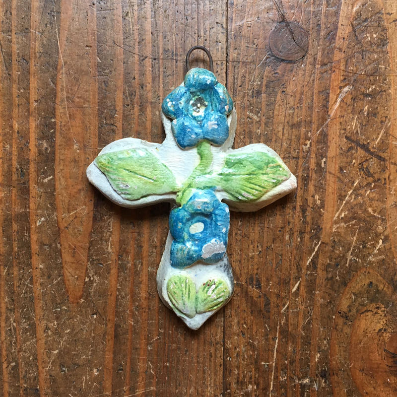 メキシコ アソンパ村の陶器 クロス  水色