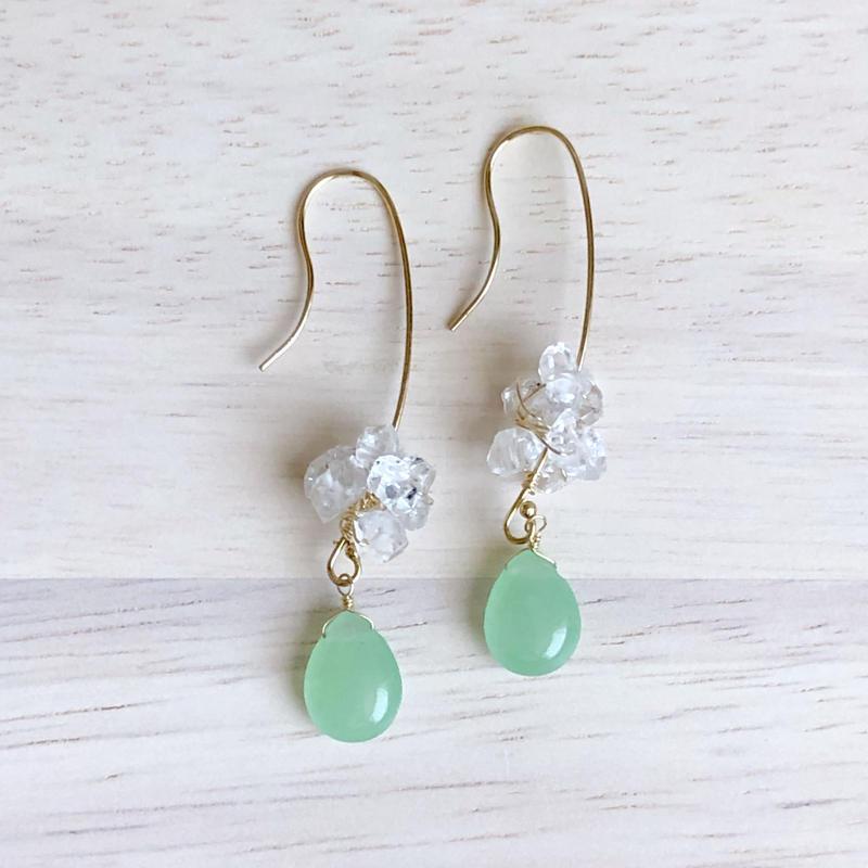 グリーンジェードとハーキマーダイヤモンドの耳飾り