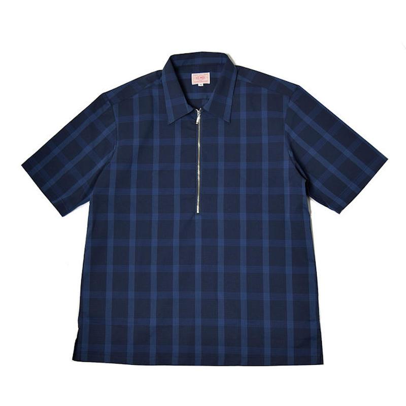 2色展開 <BIG MIKE> リップストップ ワイドチェスト ハーフジップ チャックシャツ 半袖