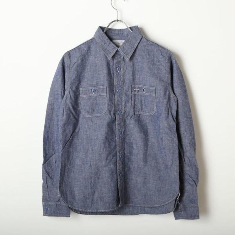 コットン/リネン シャンブレーワークシャツ