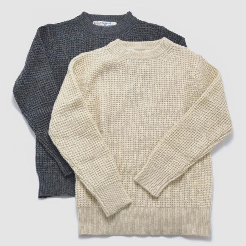 ※残りグレーのみ【BARNS】シェットランド クルーネックセーター