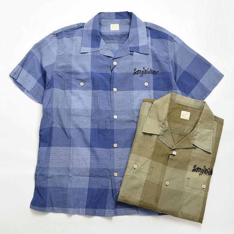 【BARNS】オープンカラーチェック半袖シャツ