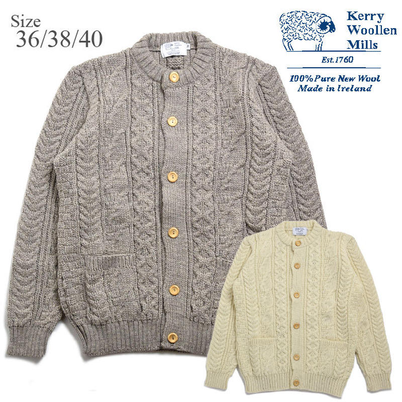 <Kerry Woollen Mills> Aran Cable Collarless Cardigan