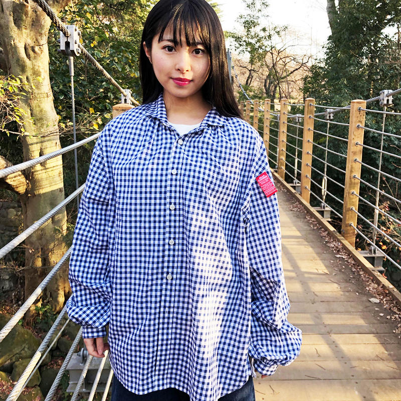 GINGHAM CHECK PIRATE GATHER SHIRTS