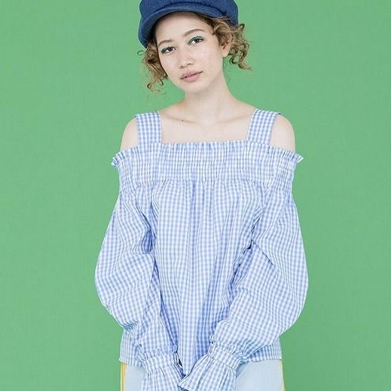 CHECKERED OFF SHOULDER BLOUSE