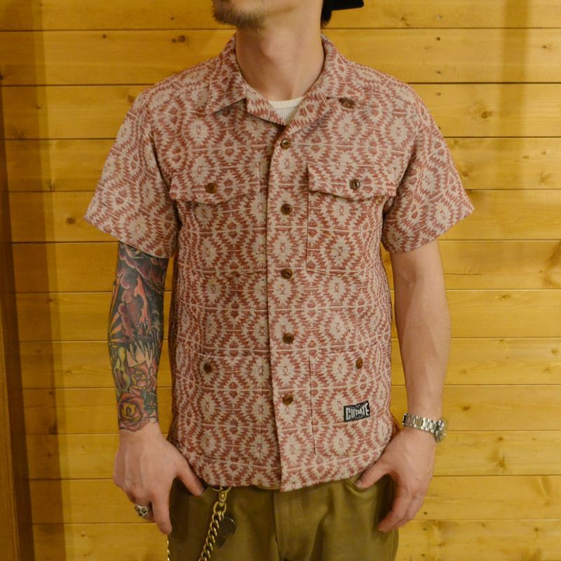 S/S NATIVE PATTERN SHIRT RED