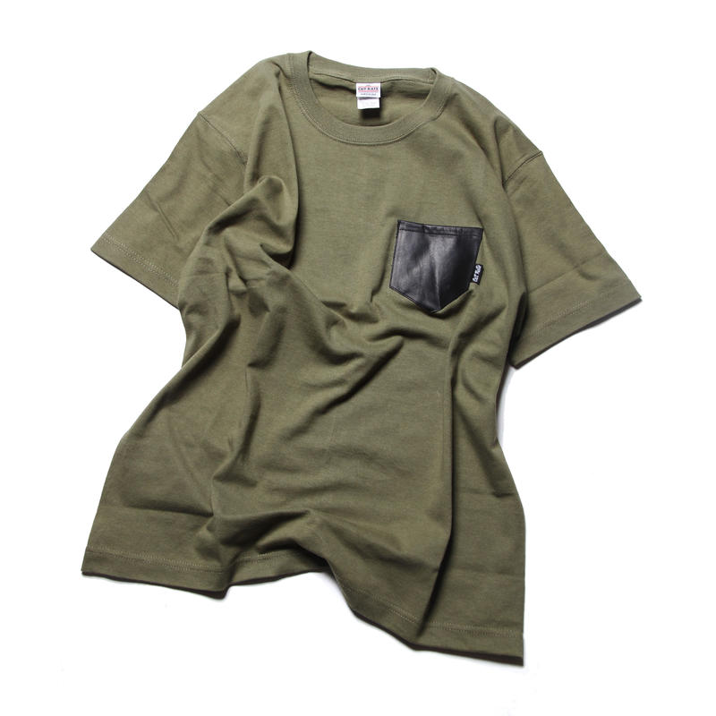 CUTRATE LEATHER POCKET T-SHIRT Lt,OLIVE