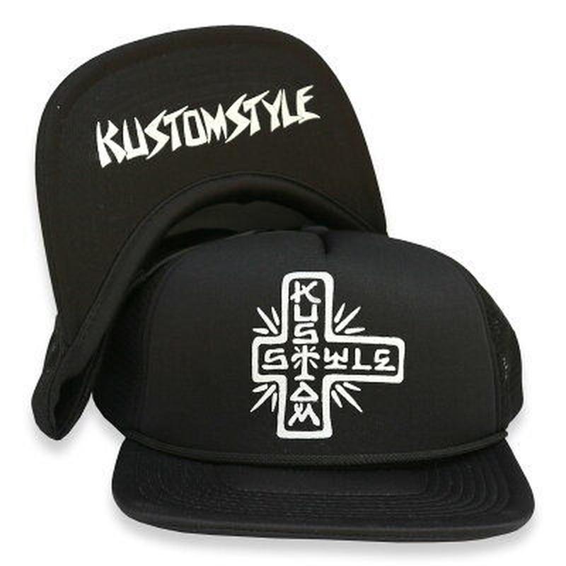 "KUSTOMSTYLE ""TACO MESA CROSS"" FLIP UP MESH CAP BLACK"