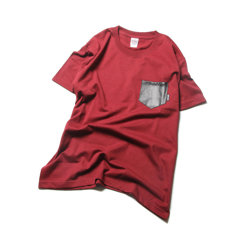 CUTRATE LEATHER POCKET T-SHIRT BURGUNDY