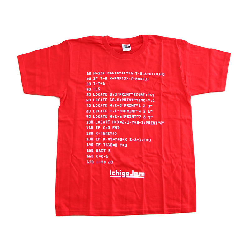 IchigoJam BASIC Tシャツ(赤系)