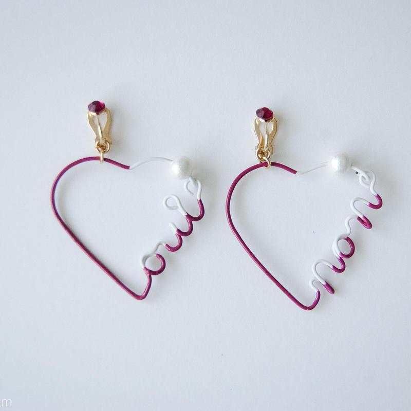 Arty Wire Pierced Earrings  - oui non heart EARRING  / GRAPE RED