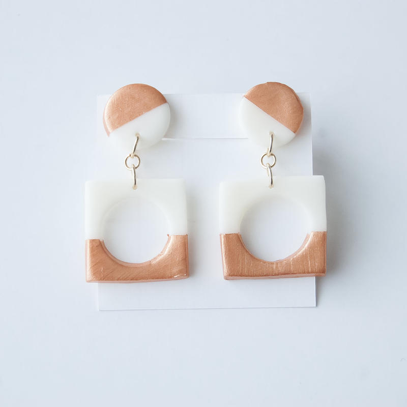 Lack of Geometry Earrings Copper - Square+Circle two