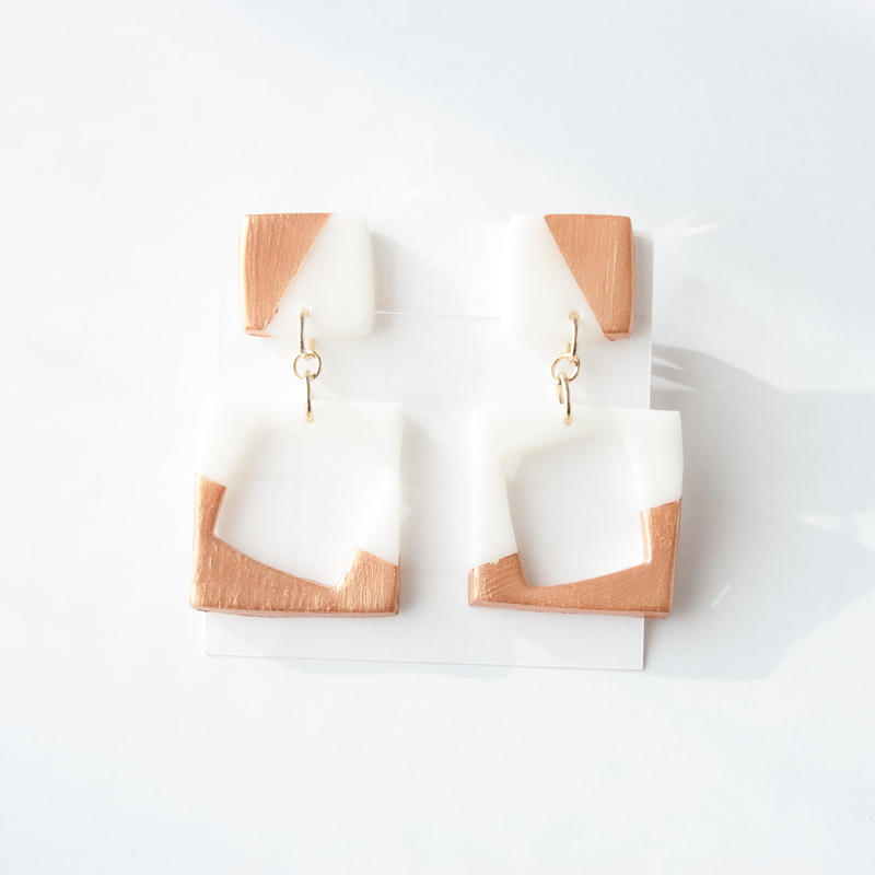 Lack of Geometry Earrings Copper - Square