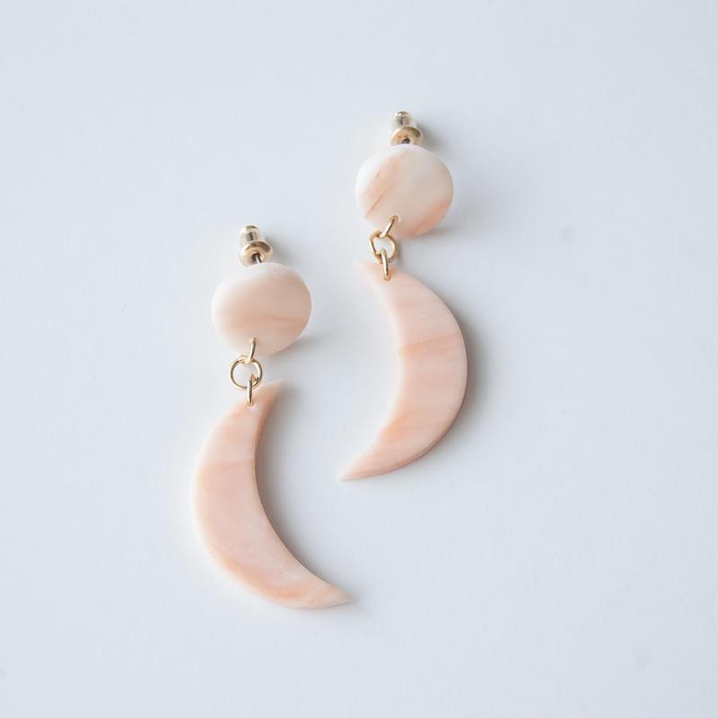 Lack of Geometry Pierced Earrings - Crescent Moon