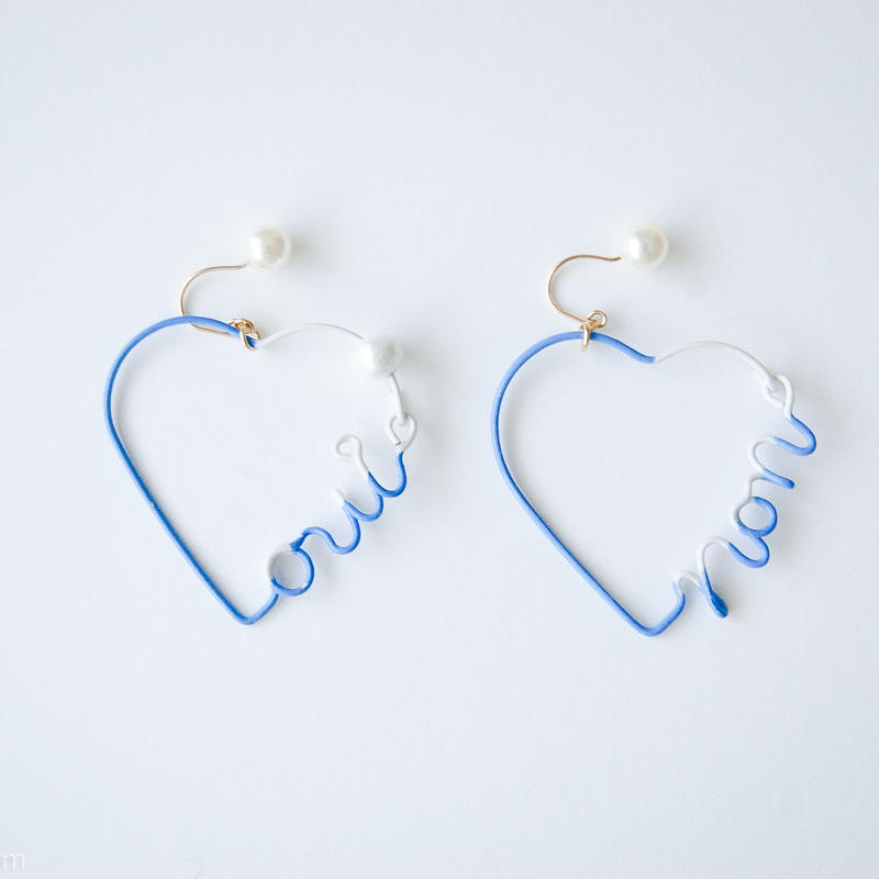 Arty Wire Pierced Earrings  - oui non heart PIERCE  / LAVENDER BLUE