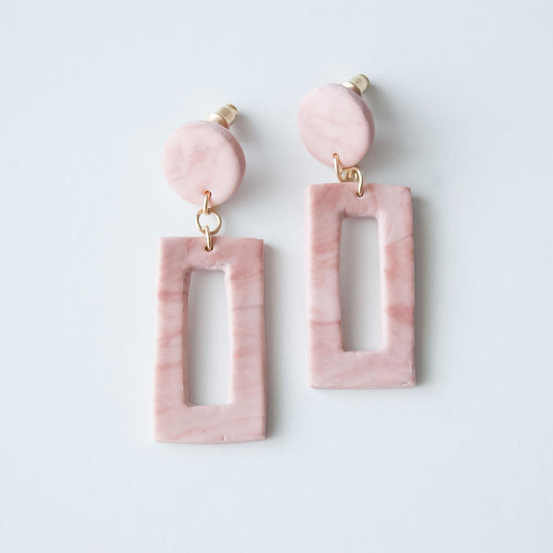 Lack of Geometry Pierced Earrings - Lack of Square