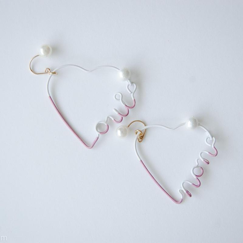 Arty Wire Pierced Earrings  - oui non heart PIERCE  / MAUVE PINK