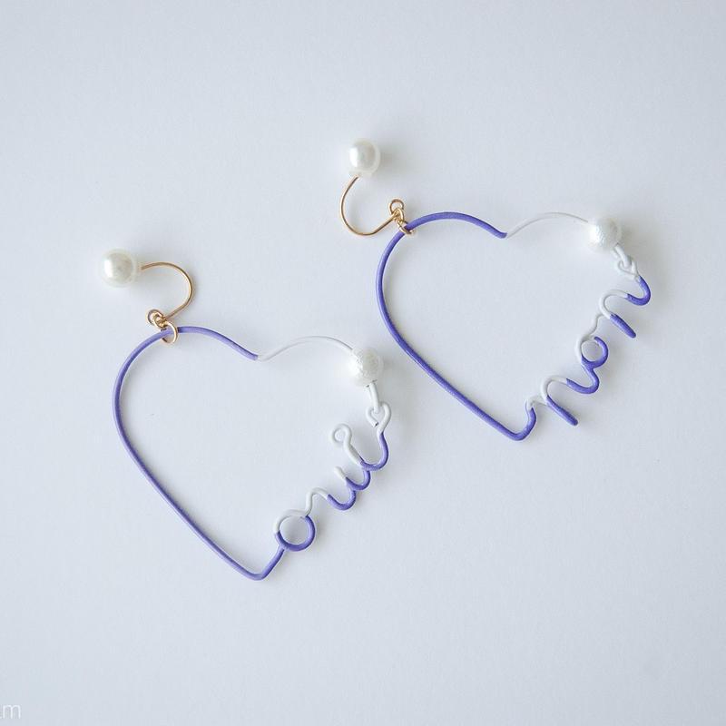 Arty Wire Pierced Earrings  - oui non heart PIERCE  / VIOLET